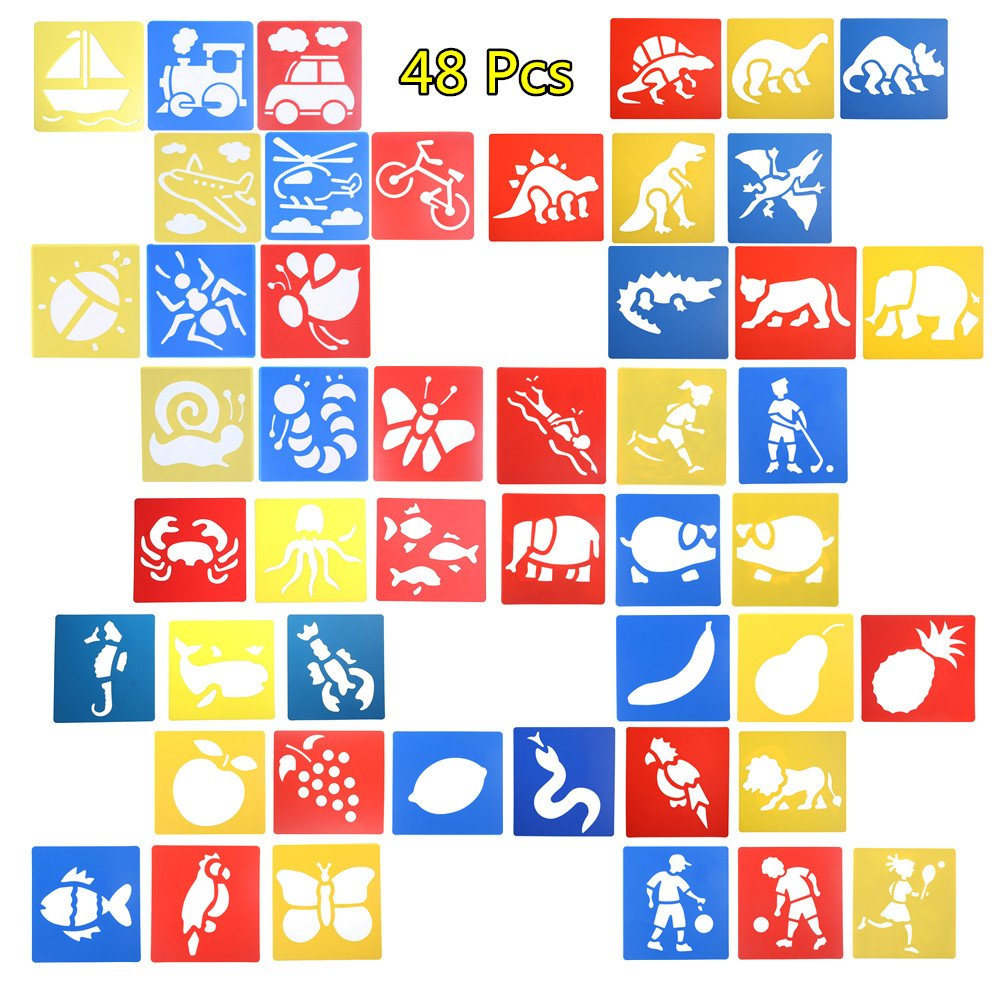 Welecom 48 Pcs Painting Stencil Plastic Animal Drawing Spraying Templates for Kids Crafts, Washable Painting Templates for School Projects, 8 Different Patterns