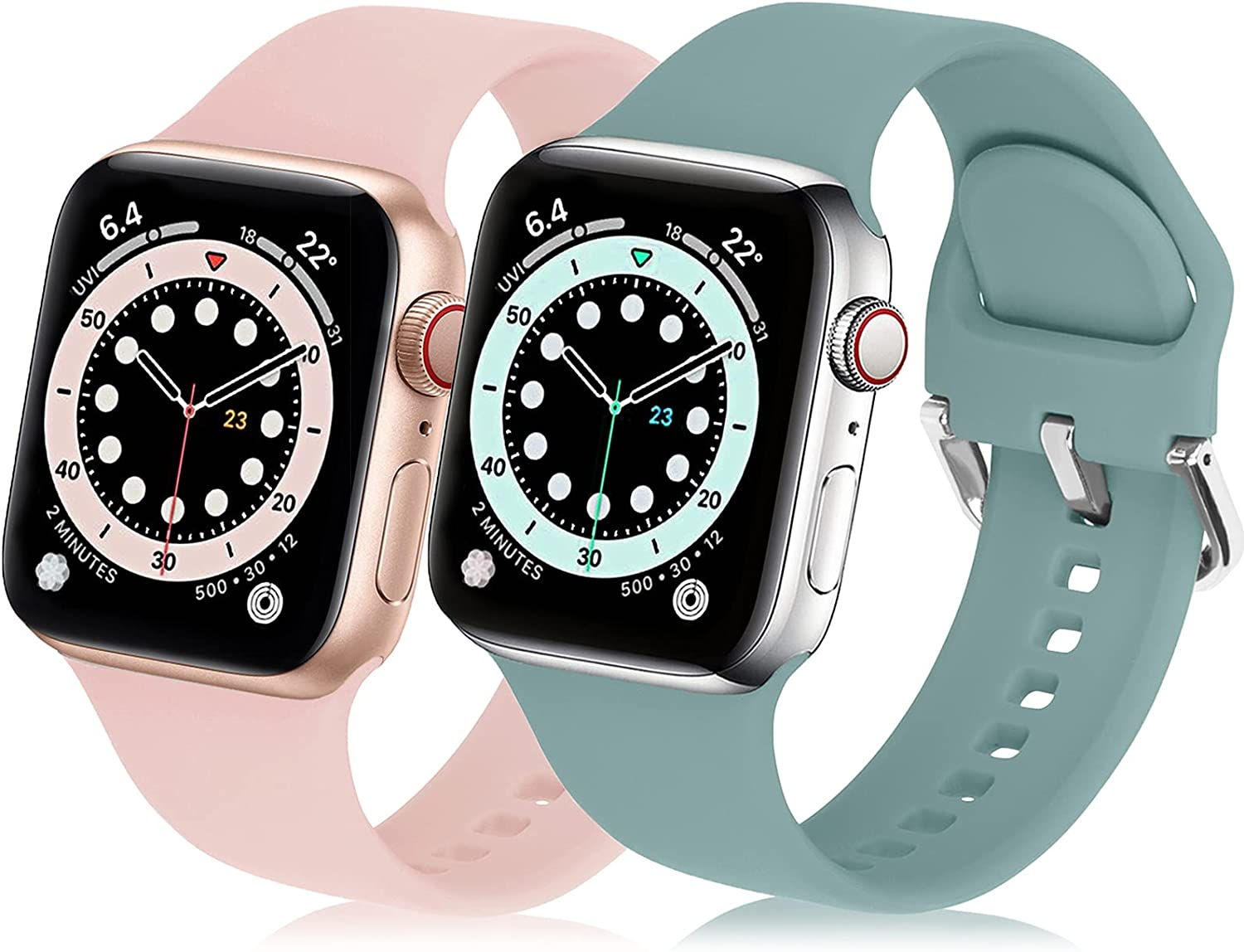 eCamframe Sport Bands Compatible with Apple Watch Band 40mm 38mm, 2 Pack Waterproof Silicone Replacement iWatch bands Men Women Compatible with Series 6 5 4 3 2 1 & SE(PinkSand+Cactus,38/40mm)