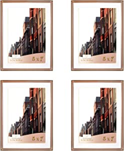 Ethereal Ore Rose Gold 5x7 Picture Frame with 4x6 White Mat (4 Pack, Rose Gold Frame), Rose Gold Picture Frames, Rose Gold Frame 5x7, Rose Gold Room Decor, Rose Gold Wall Decor (5x7, Rose Gold)