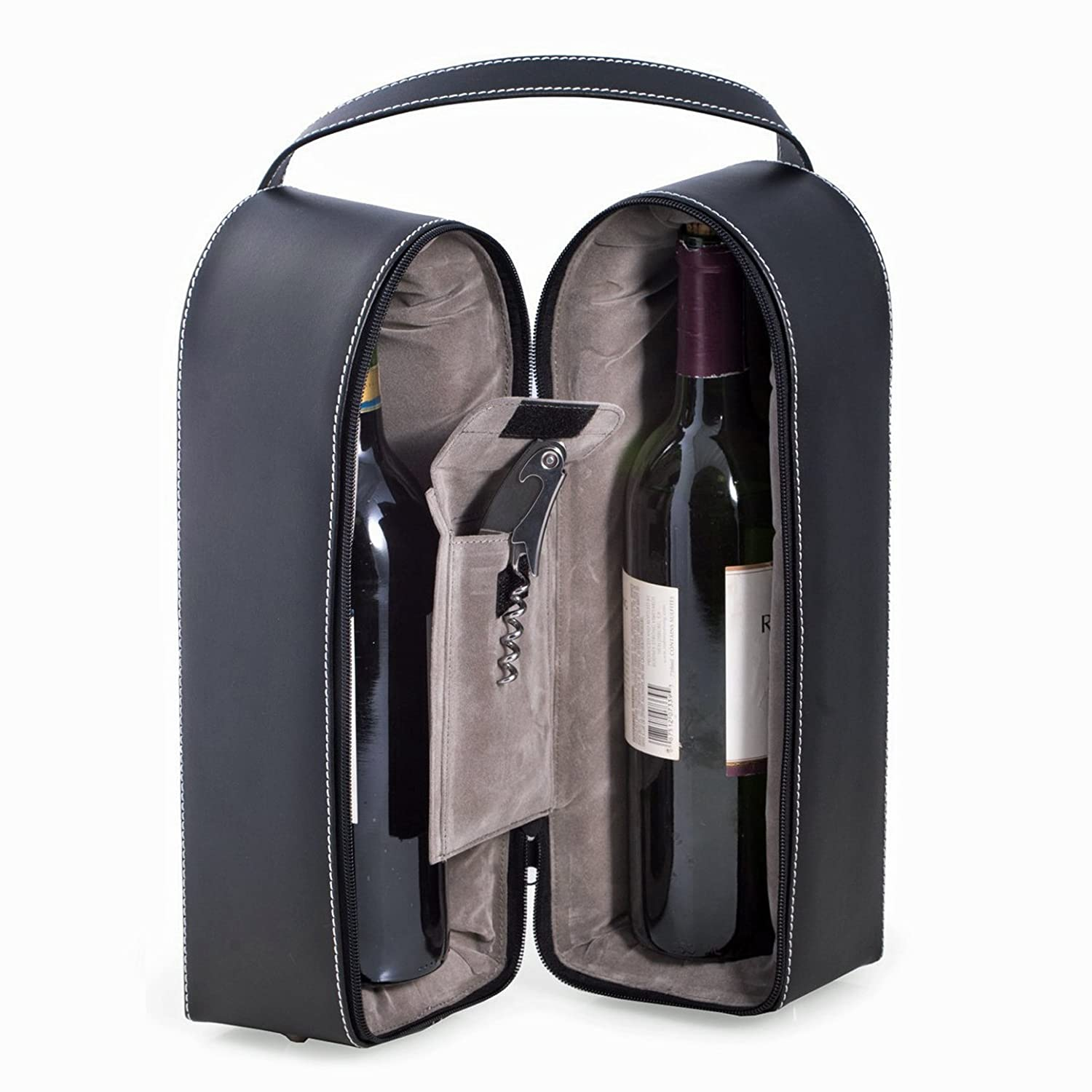 Wine Carrier - Dual Wine Caddy with Bar Tool - Black Leather - Wine Holder Kensington Row Collection KRC-XBS^BRK^936-WNHLD