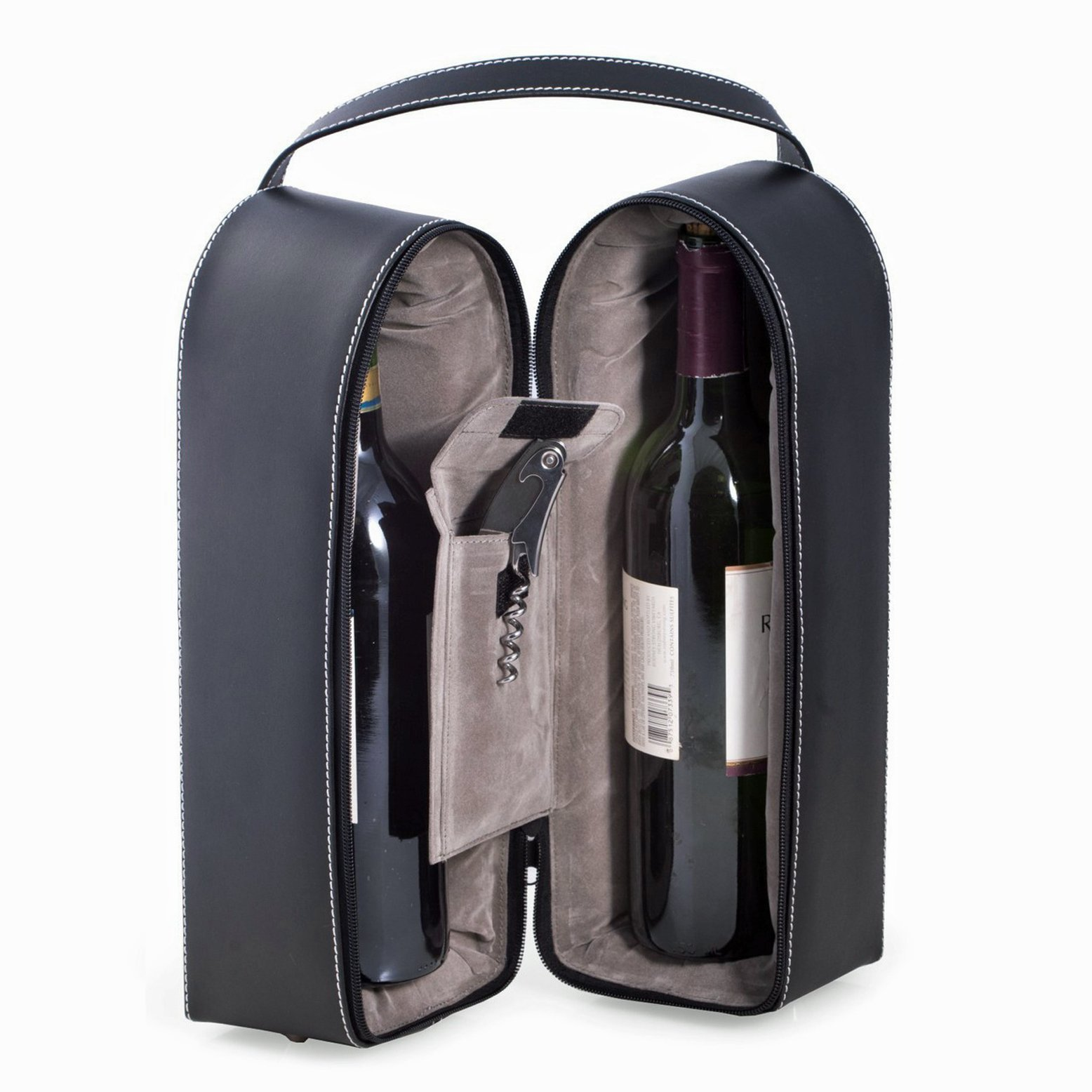 Wine Carrier - Dual Wine Caddy with Bar Tool - Black Leather - Wine Holder