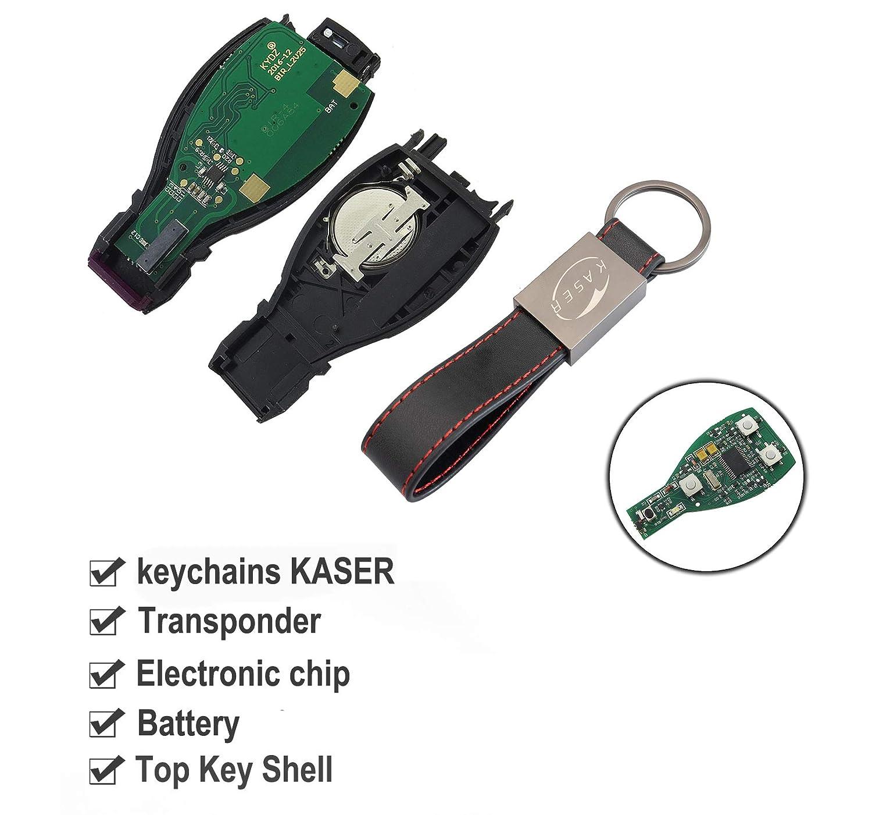 Chiave Telecomando con Scheda Elettronica 3 Tasti per Mercedes Classe A C E CLA GLA GLK 433MHz Transponder con Portachiavi KASER