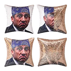 cygnus The Office Prison Mike Flip Sequin Pillow Cover,Magic Reversible Throw Pillow Case Change Color Decorative Pillowcase 16x16 inches (Champagne Sequin)
