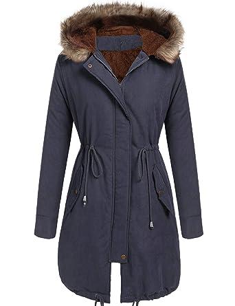 23db9353453c0 Amazon.com: Beyove Women Winter Warm Hoodie Faux Fur Lined Down Parka  Outdoor Long Jacket Coats: Clothing