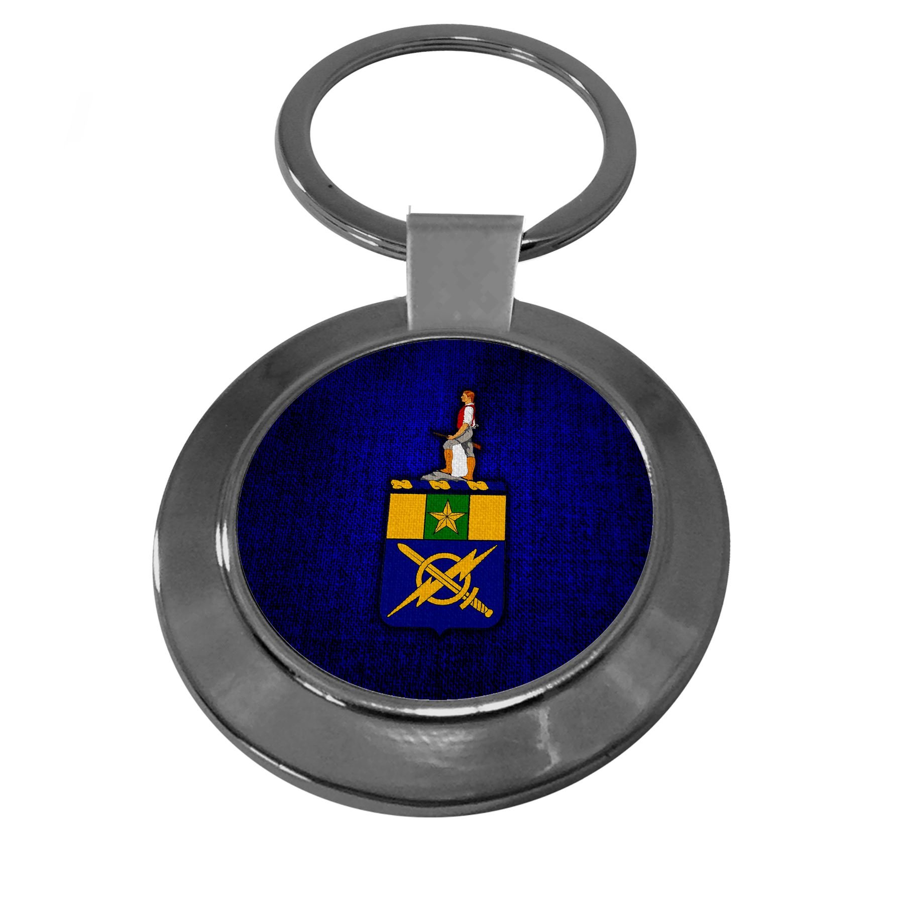 Premium Key Ring with U.S. Army 302nd Information Ops (302nd IOC), coat of arms