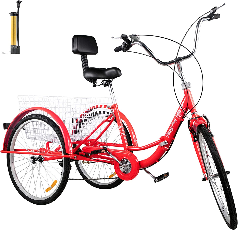 Details about  /Ridgeyard 26/'/' 3 Wheel 7-Speed Aluminum Frame Tricycle Bike Trike Cruise Basket