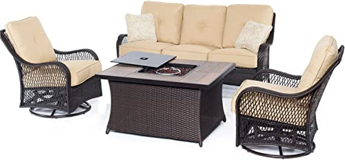 Hanover ORLEANS4PCFP-TAN-A 4 Piece Orleans Woven Lounge Set