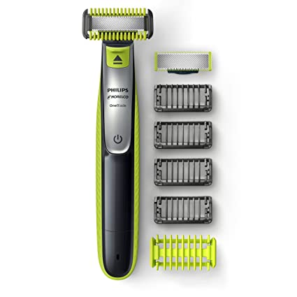 Philips Norelco OneBlade Face + Body Hybrid Electric Trimmer and Shaver QP263070, Black/Green/Silver