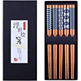 Antner 5 Pairs Natural Bamboo Chopsticks Reusable Classic Japanese Style Chop Sticks Gift Sets, Dishwasher Safe, 8.8 Inch/22.