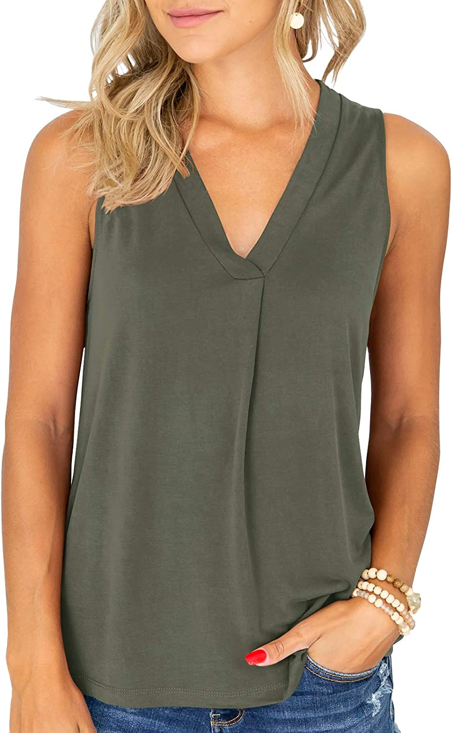 Syktkmx Womens Office Sleeveless Shirts V Neck Tank Tops Long Loose Solid Comfy Tee