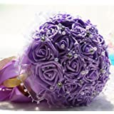 "WTB lusso Handmade di cerimonia nuziale di fiori artificiali Bouquet (7 ""Viola)"