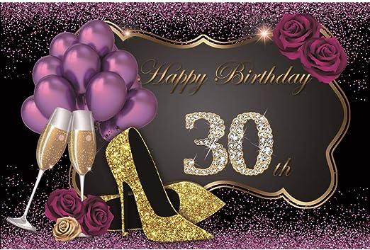 Lfeey 2 1 X 1 5 M Happy 30th Birthday Hintergrund Bling Kamera