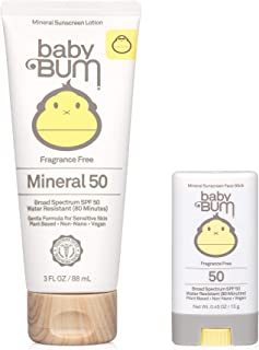 product image for Sun Bum Baby Bum Spf 50 Sunscreen Face Stick and Lotion Mineral Uva/uvb Face and Body Protection for Sensitive Skin Fragrance Free Travel Size