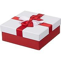 Kurdeleli Beyaz Kapaklı Kırmızı Kare Hediye Kutusu 19, 5 x 19, 5 x 7, 5cm