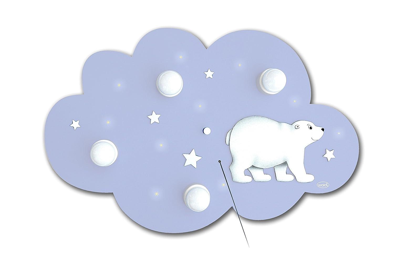 Waldi Waldi Waldi Leuchten Deckenleuchte Wolke Eisbär 4-flammig inklusive LED Lichterkette, hellblau WAL-66101.0 d6580c