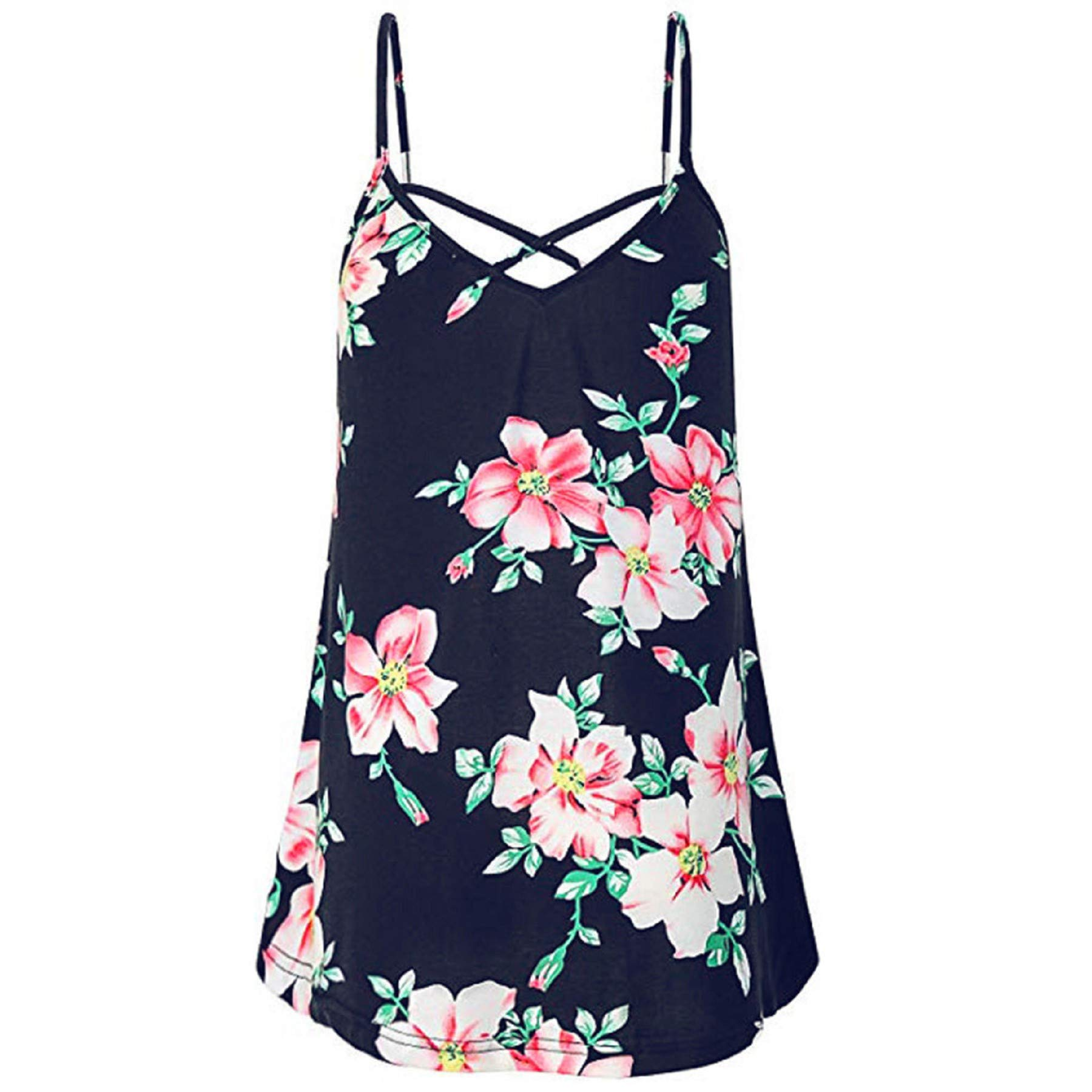 Women's Casual Sleeveless Floral Loose Flowy Tank Tops Summer Criss Cross Spaghetti Strap Vest Top T Shirt Blouse Navy