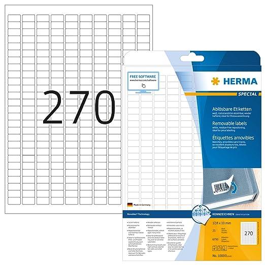 Herma 10000 Preisetiketten ablösbar, wieder haftend (17,8 x 10 mm) weiß, 6.750 Preisaufkleber, 25 Blatt DIN A4 Papier matt, bedruckbar, selbstklebend,