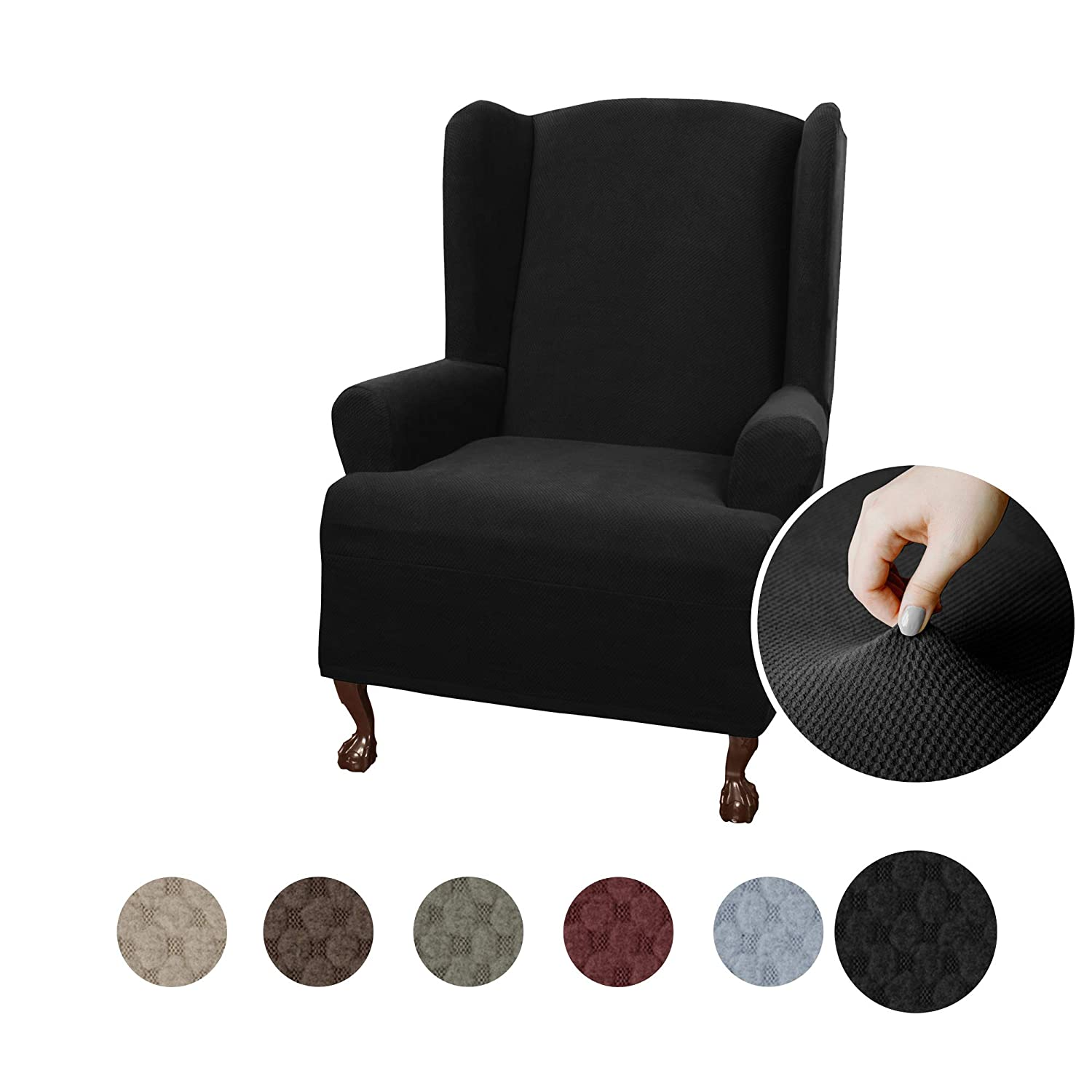 MAYTEX Pixel Ultra Soft Stretch Wing Back Arm Chair Furniture Cover Slipcover, Black