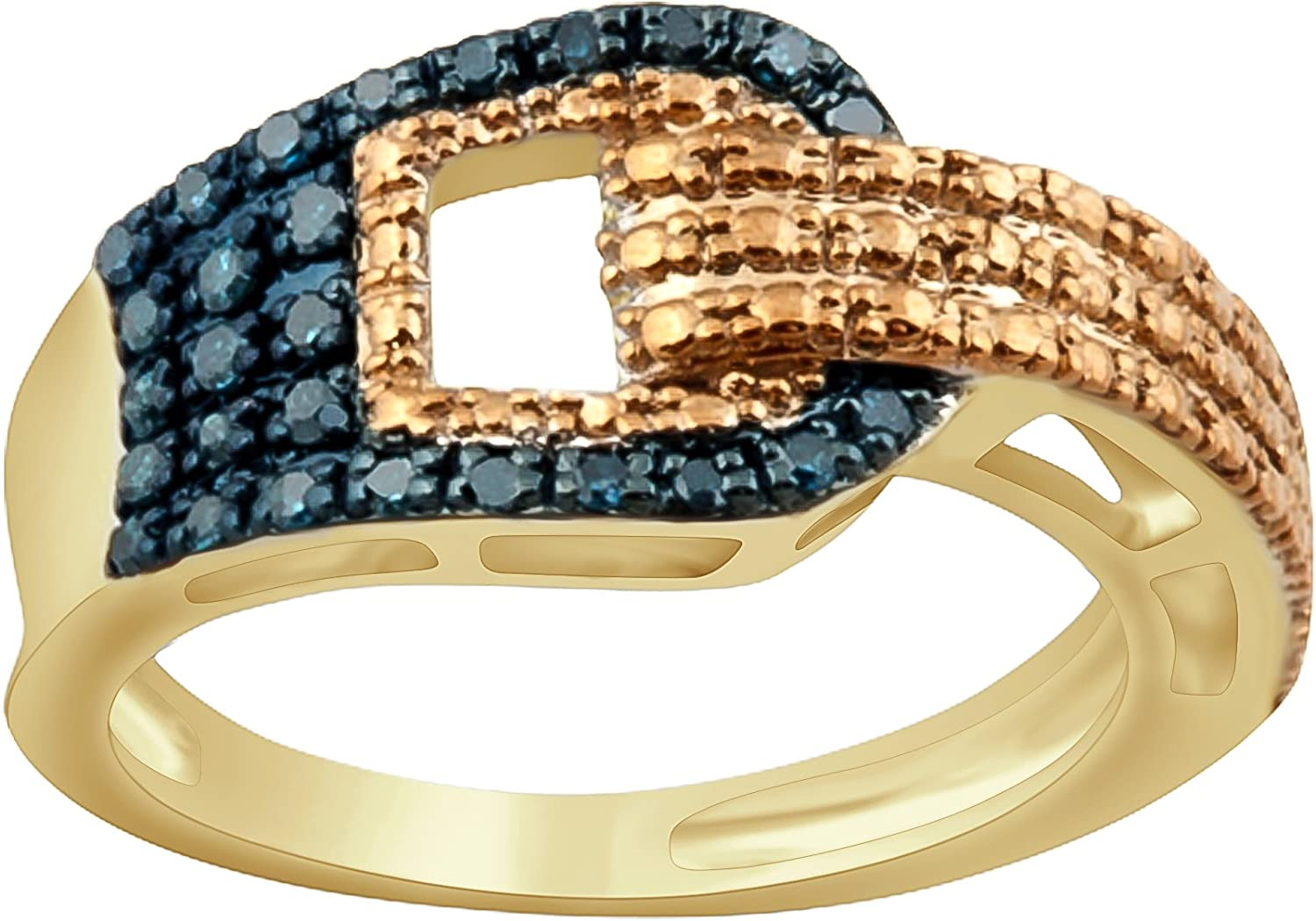 Prism Jewel 0.21Ct Blue Diamond With Diamond Effe Connect Style Ring