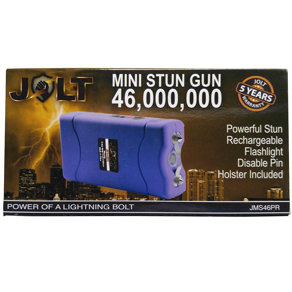 JOLT Mini Rechargeable High Voltage LED Stun Gun Purple 46 Million Volts