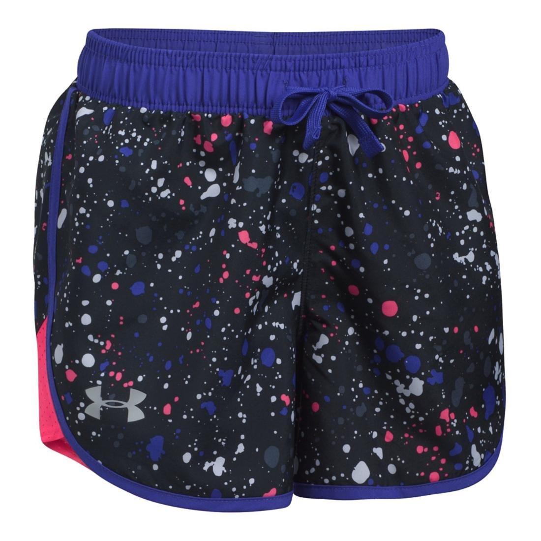 Under Armour Girls Fast Lane Novelty Short, Black/Pink, XL (18-20 Big Kids) x One Size