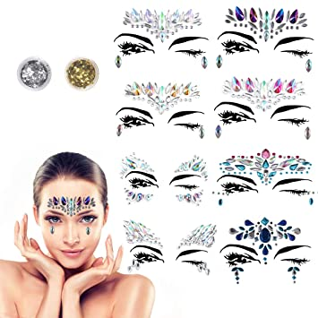 1989ca65e Face Gems - BRT 8 Packs Face Jewels Crystal Face Stickers Glitter  Rhinestone Adhesive Face Temporary