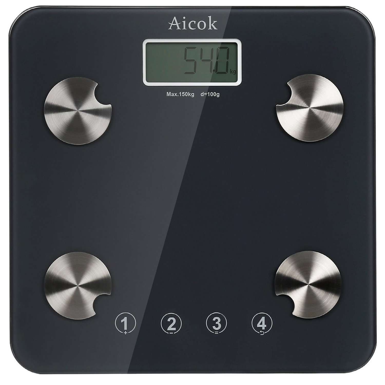Aicok Báscula de Baño Digital con Análisis Corporal Plataforma de Vidrio templado, 150KG/330Lb , Mide El Peso, La Grasa Corporal, Agua Corporal, ...