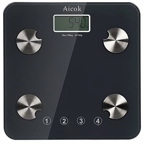 Aicok Digital Body Fat Scale, Bathroom Scale, Weight Scale with Step-On Technology & Precise Measurements, Body Composition Analyzer, Tempered Glass Platform, 330 Pounds