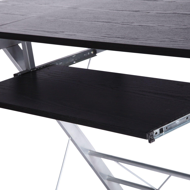 Homcom Bureau d'ordinateur d'angle pour la station de travail bureau à domicile robuste de meubles nouveaux PC Noir