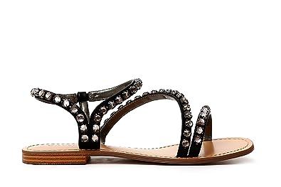Café Noir SANDALE AVEC ACCESSOIRE STRASS 204 ARGENTO - Chaussures Sandale Femme