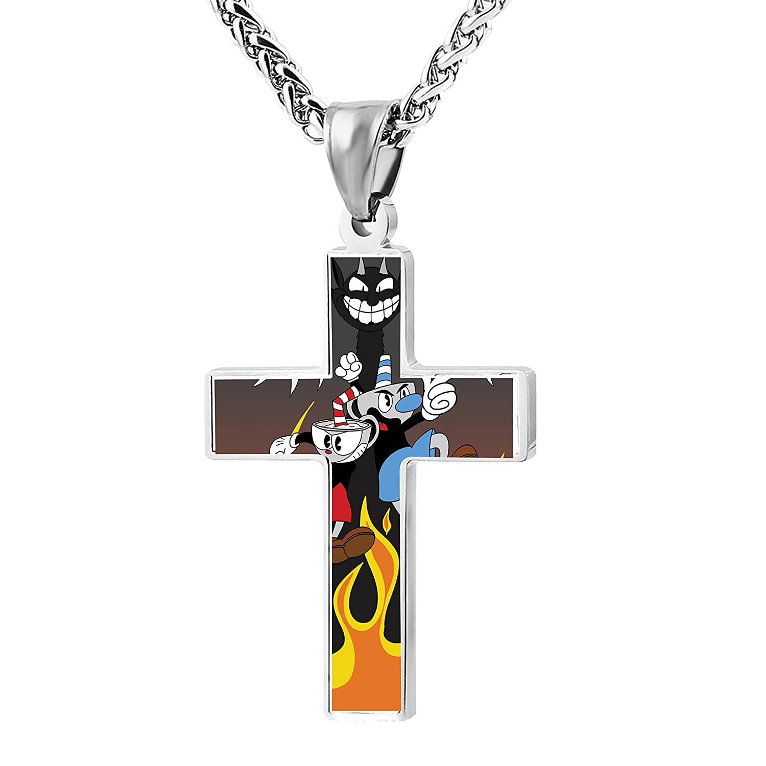 Simple Fashion Fire Hell_Cuphead Metal Religious Zinc Alloy Stainless Cross Rood Chain