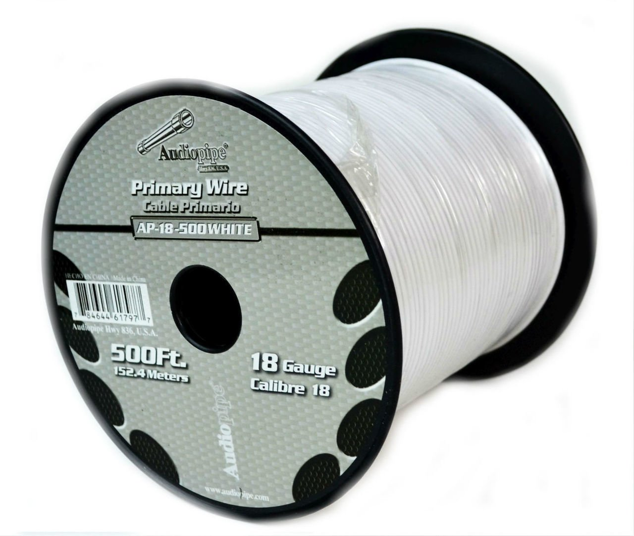 Audiopipe White 500' Feet 18 GA Gauge CCA Car Primary Power Remote Wire Cable