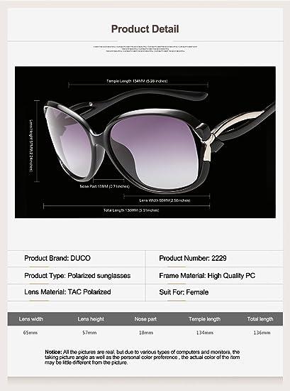 ce42b75ccacb6e Duco Lunettes de Soleil polarisées pour Femmes 100% Protection UV - 2229  (Cadre noir Objectif gris)  Amazon.fr  Vêtements et accessoires