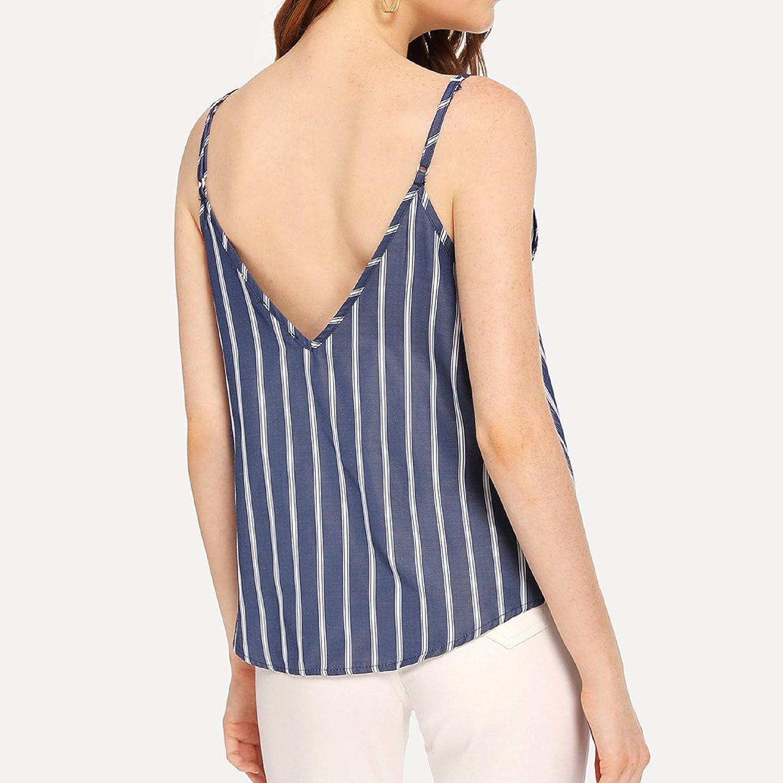 ZainafacaiTunic Camis Tops,V-Neck Sleeveless Off-The-Shoulder Striped Print Halter Sling top