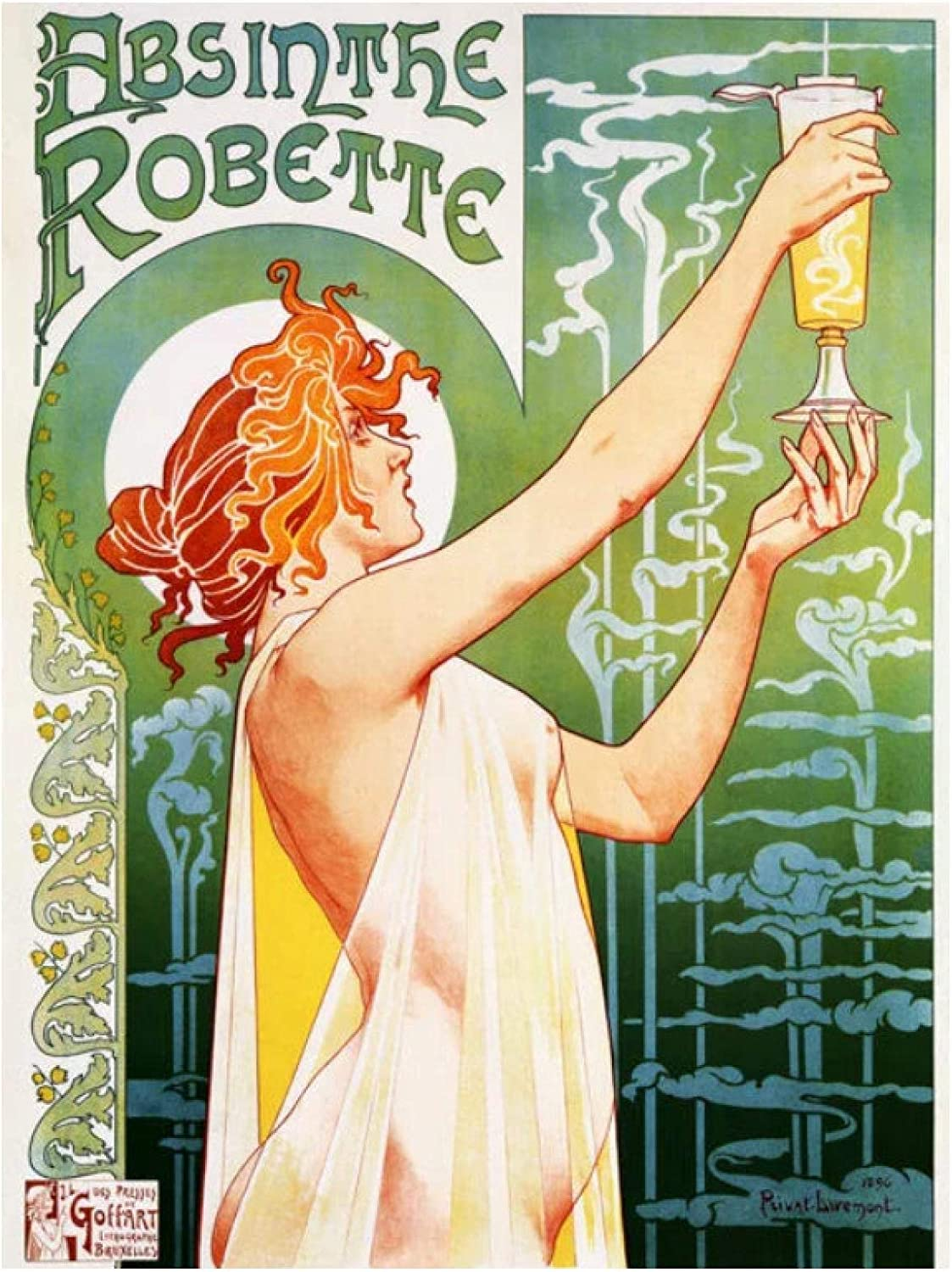 SBtTEtesjtt Vintage Alcoholic Beverages Wine Poster Absinthe Persan Export Classic Canvas Print Wall Art Home Decor Gift -60X80Cm No Frame