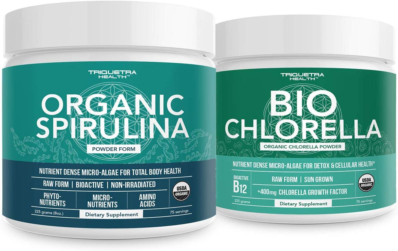 Organic Spirulina Powder Plus Organic Chlorella Powder - 4 Organic Certifications for Both, Raw Form - 8 oz.
