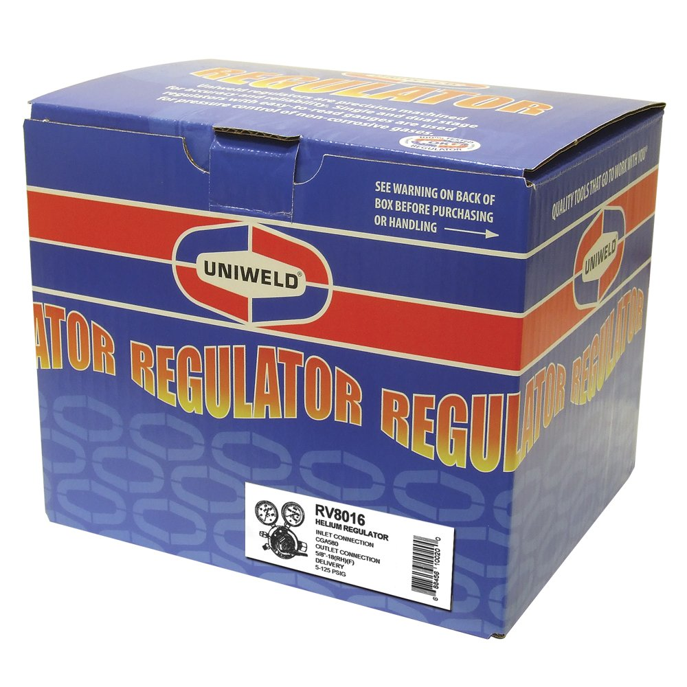 Uniweld RV8016 Heavy Duty Single Stage Helium Regulator with CGA580 Inlet