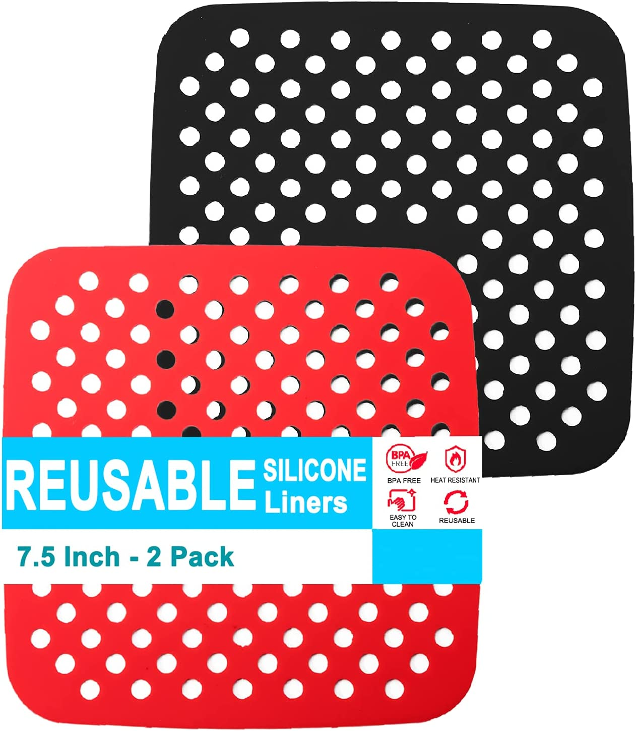Air Fryer Liners Square, 7.5 Inch Reusable Silicone Non-Stick Airfryer Heat Resistant Mats, Air Fryer Accessories, Compatible with COSORI, Instant Pot, Chefman, GoWISE, NuWave and More, 2 PCS