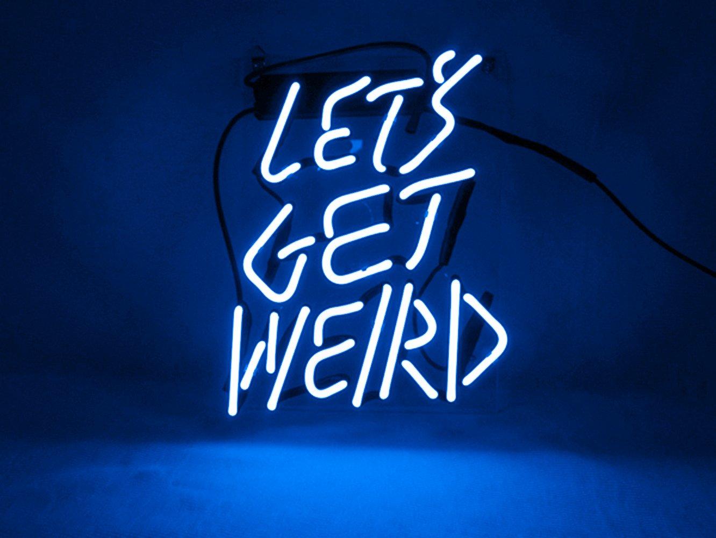 KUKUU Neon Sign Decor Let's Get Weird for Beer Bar Bedroom Garage Game Room 12''x 9.8'' (Blue)