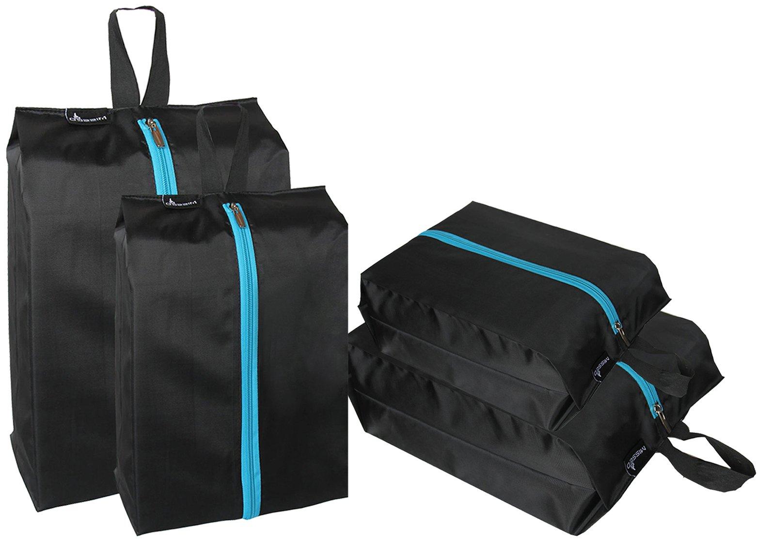 MISSLO Waterproof Zippered Travel Shoe Bags for Men & Women (4 Pack, Black)
