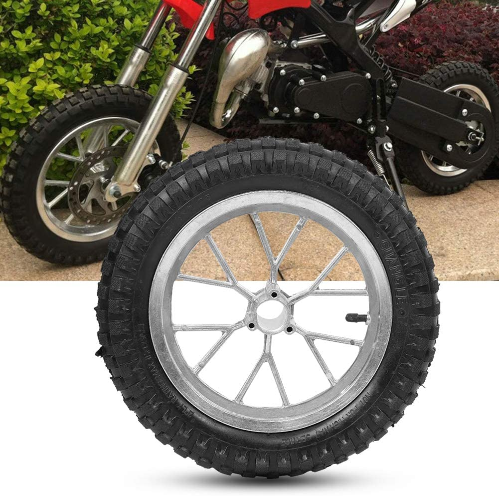 Motorcycle Tire 12.5 x 2.75in Motorcycle Front Rear Tire Wheel with Rim Fits for Coolster 49cc 2 Stroke Mini Di