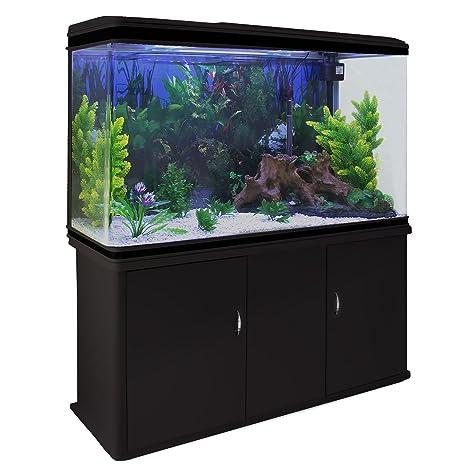 MonsterShop - Acuario 300 Litros con Mueble Negro y Kit con Plantas y Grava Blanca 143cm