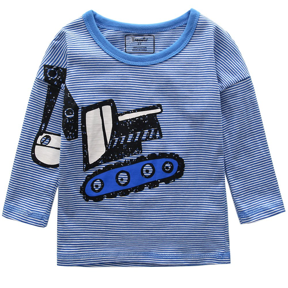 Frogwill Toddler Boys Excavator Long Short Sleeve Cartoon T Shirt Size 2-7 Years (4T, Blue2) by Frogwill (Image #1)