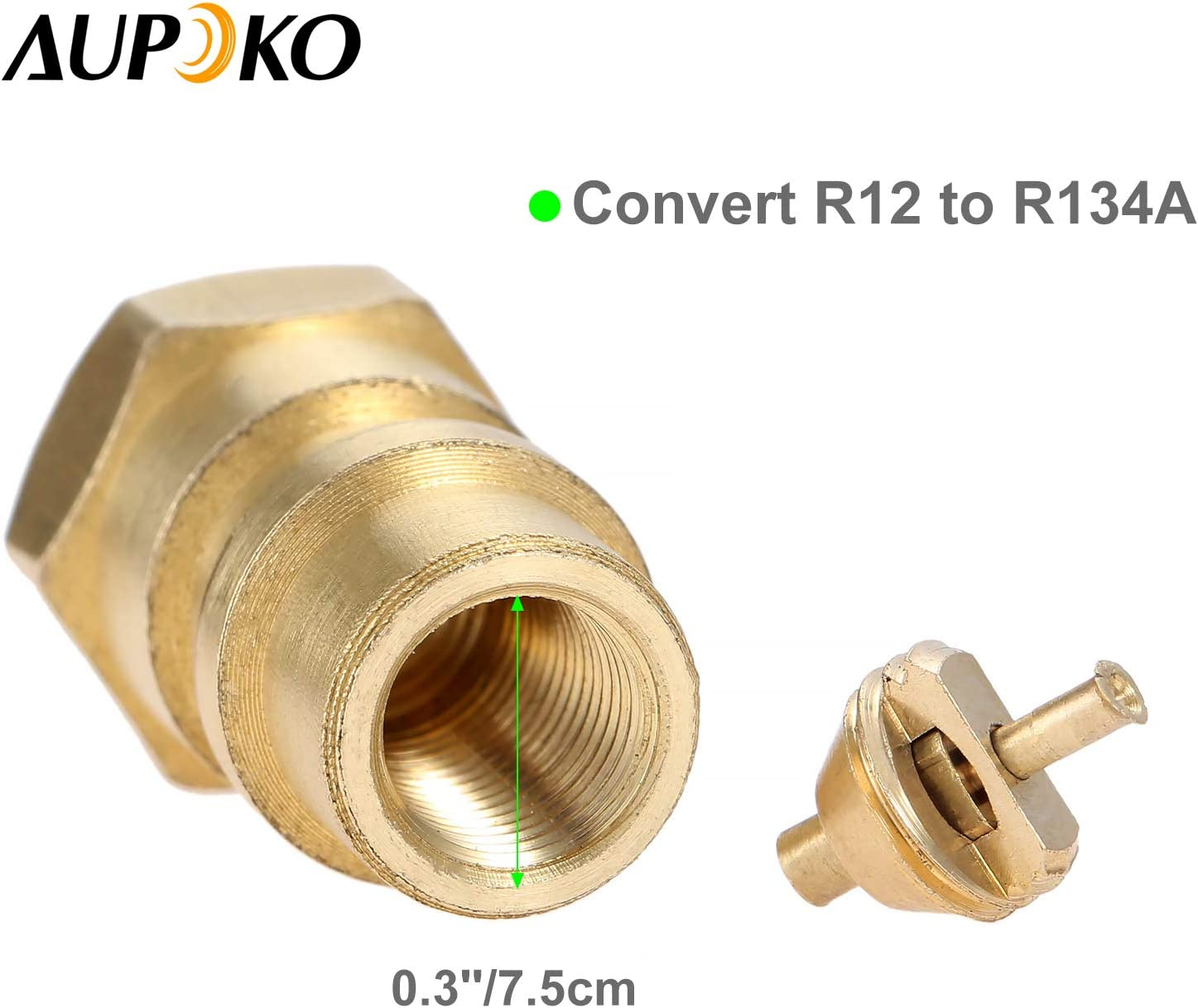 Aupoko A//C Retrofit Valve with Dust Cap with R134A Quick Coupler Interface and Core Valve 1//4 to 8v1 Thread R12 R22 to R134A Fast Quick Conversion