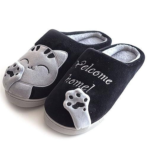 Zapatillas de estar por Casa Mujer Invierno Gatos Interior Cálido Pantuflas de Algodón Suave Peluche Antideslizante Slippers Hombre: Amazon.es: Zapatos y ...