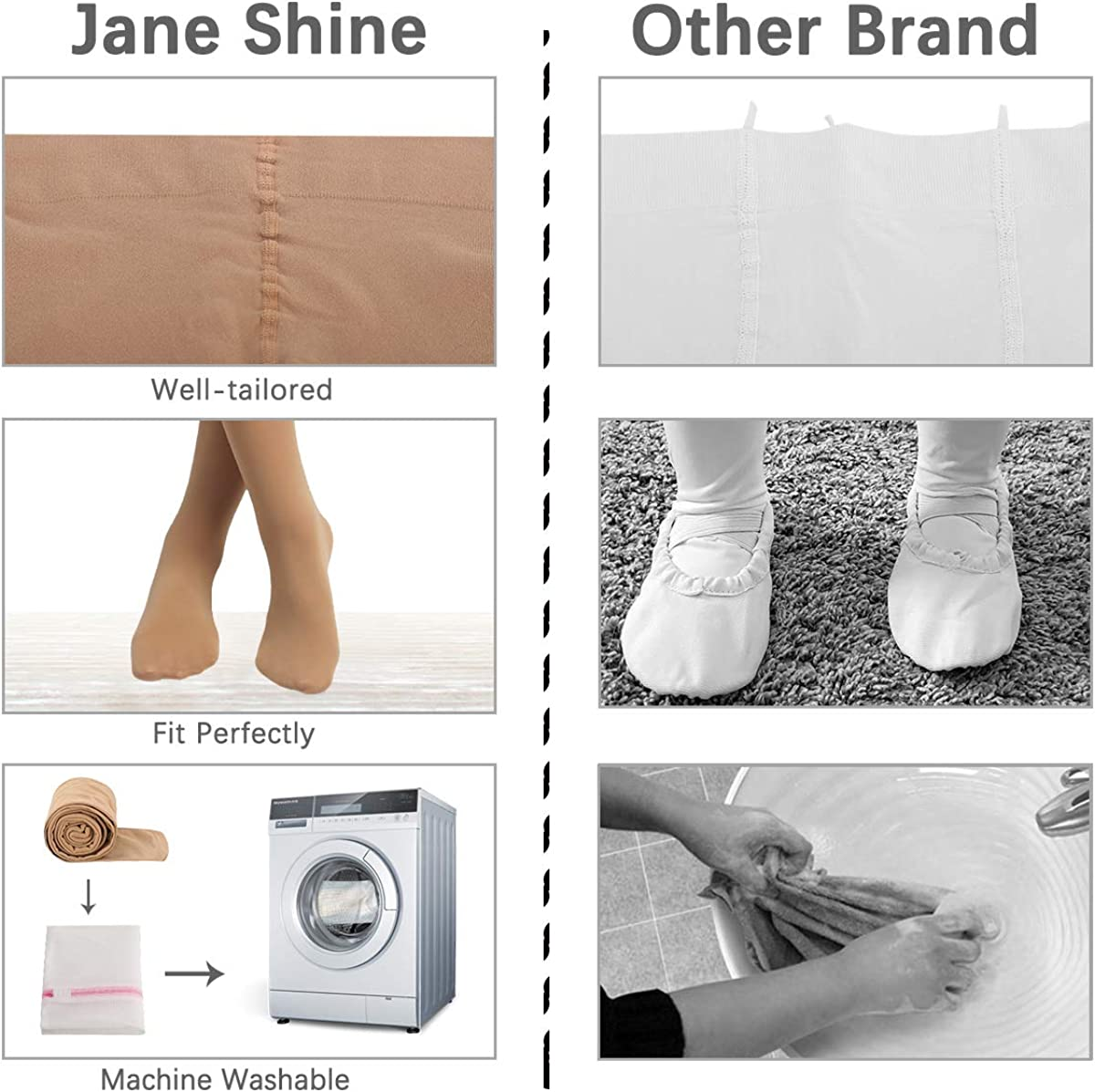Jane Shine Ballet Dance Footed Tights Ultra-soft for Toddlers//Girls//Women Hold /& Stretch 2 Pack