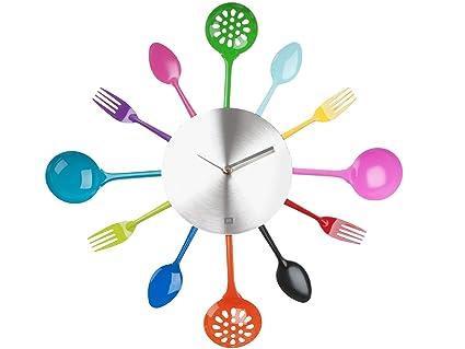 PT HOME PT1639 - Reloj de pared (acero), diseño de utensilios de cocina