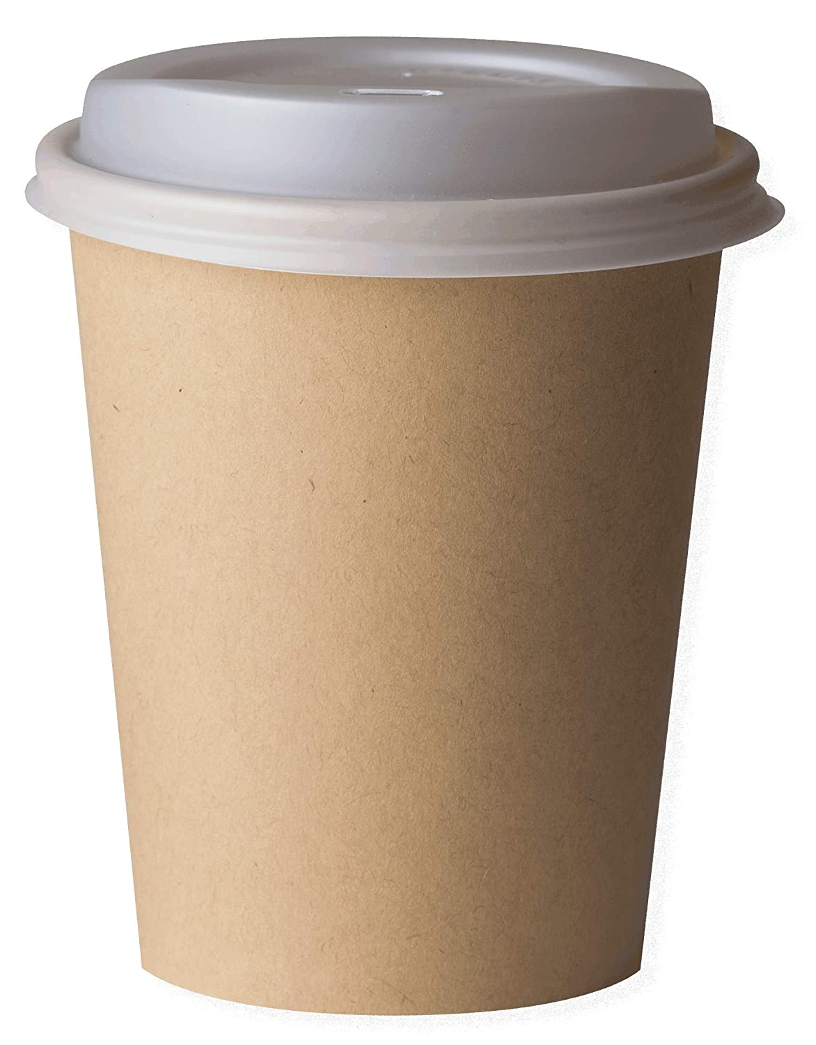 White 80mm Pack of 50 Biodeck Compostable and Biodegradable Hot Drink Cup CPLA Lid