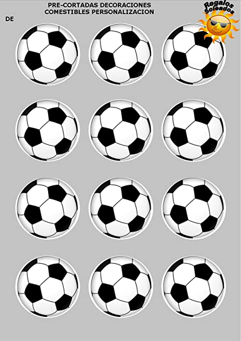 12 x Precortada Balones de fútbol negro Decoración ...