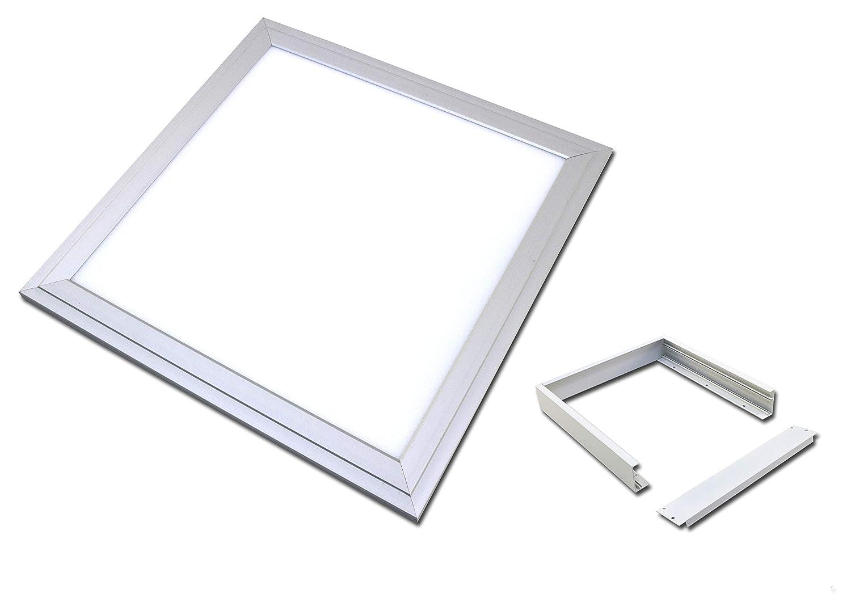 LED Panel 30x30cm wasserdicht 18 Watt silberoxid IP65 (Warmweiss 3000K, Mit Aufputzrahmen)